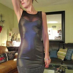 bebe Dresses - Bebe lace, leather studded mini Stunning